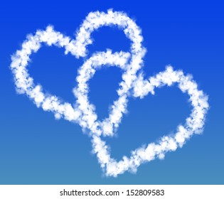 two hearts from clouds