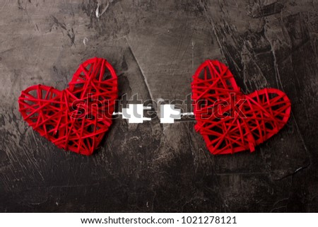 Two Hearts Connected By Usb Cable Stockfoto Jetzt Bearbeiten