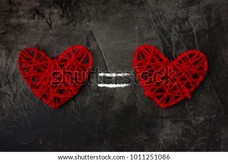 Two Hearts Equal Sign On Dark Stock Photo Edit Now 1011251086