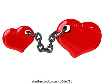 Two hearts fixed by chain (Can be used for a printing or web)