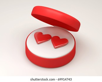Two hearts in red open box