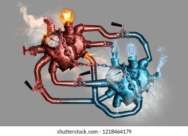 Two hearts of steel connected with the steel pipelines. Love concept. Isolated on grey background.