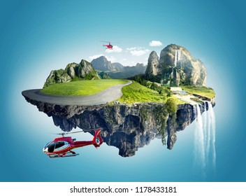 two helicopter fly around the  floating island