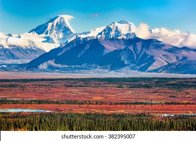 Two high peaks of the Alaska Range, Deborah (left) and Hess (right), tower in the view from the Denali Highway