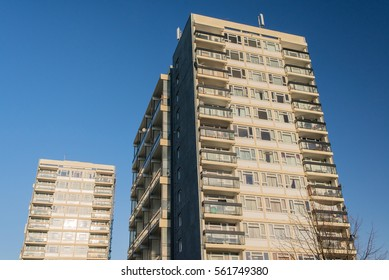 Two high rise blocks of Council flats in the UK.