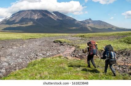 two hikers on kamchatka