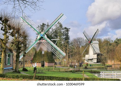 Two historic windmills in the Arnhem Open Air Museum .