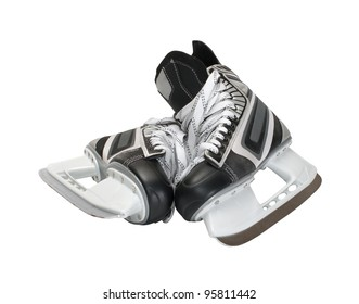 Two hockey skates on a white background.