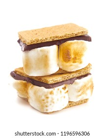 Two Homemade Smores Isolated on a White Background