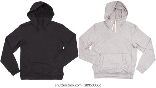 Two hoodie shirts isolated on a white background
