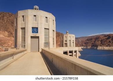Two of the Hoover Dam intake towers on the Nevada side of the structure.