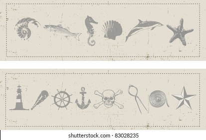 Two horizontal banners with a nautical and sea theme set on a grunge style background. Sea creatures and nautical instruments and elements.