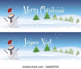 Two horizontal christmas banners with a white snowman dressed with a colorful scarf and red santa hat, set against white snow and green trees. Set with seasonal greetings in English and French.
