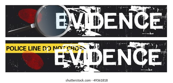 Two horizontal crime themed banners set on a grunge styled background base. Evidence themed.
