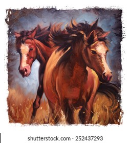 Two Horses Vintage painting Torn edges