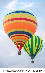 Two hot air balloons in the sky