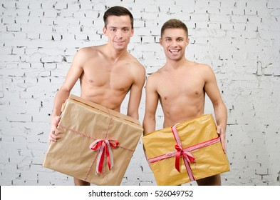 Two hot sexy guys and gift.