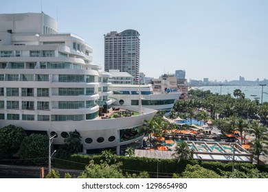 two Hotels in Ship Style with skyline at the Beach road in the city of Pattaya in the Provinz Chonburi in Thailand.  Thailand, Pattaya, November, 2018