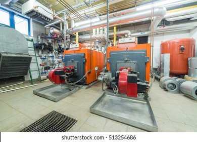 two huge furnaces in the boiler room