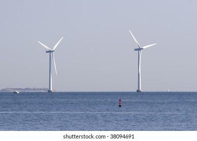 Two huge ocean windmills outside the coast of Copenhagen, Denmark