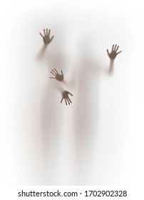 Two human body silhouette and four hands. People stand behind a curtain touching it by fingers.