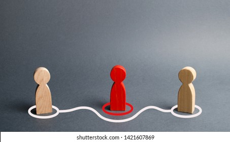 Two human figurines contact around the red figurine. Direct negotiations without intermediaries. Refusal of the services of a realtor, purchase of goods from the manufacturer. Speculators. Gossip.