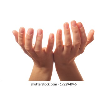 Two human hands asking for something