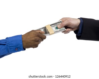 Two human hands holding a bundle of money