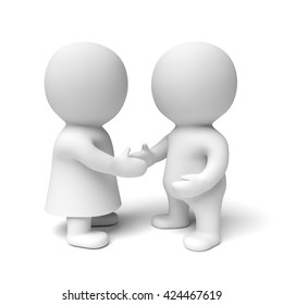 two human white 3d persons - the one on the left wearing a gown - shaking hands (3D illustration isolated on a white background)