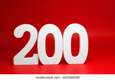 Two Hundred ( 200 ) Percentage Isolated Red  Background with Copy Space - Increase 200% More Price up  Business finance Stock Benefit Concept
