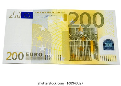 Two hundred euro banknote with a  isolated on a white background