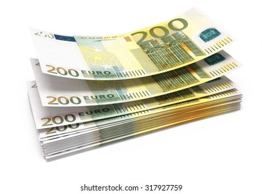 Two hundred euro banknotes close-up (isolated on white and clipping path)