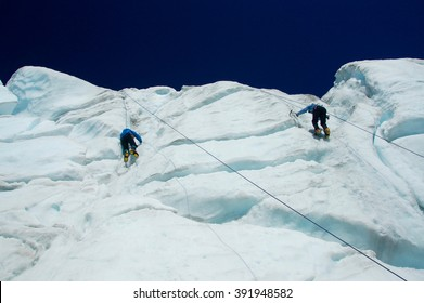 Two Ice Climbers on Mount Baker Glacier