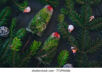 Two ice creams on a stick from evergreen branches on a black background