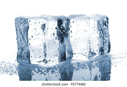Two ice cubes with water drops isolated on white background