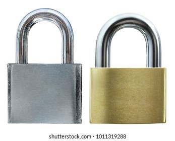 Two icons - padlock in the position, isolated on white