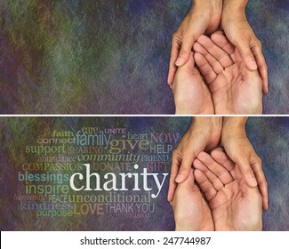 Two identical banners one with and one without a word cloud about Charity, on a rustic dark multicolored stone effect background with a man and woman's hands held together gesturing they need help