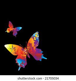 two illustrated colourful butterflys on a black background
