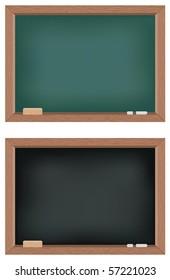 Two illustrations of blackboards