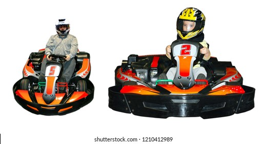 Two images of go-kart isolated on white background. In one car sits a man in another girl.