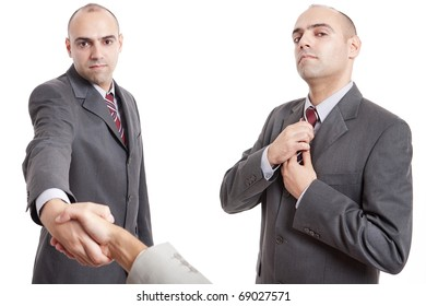 two images of a man shaking hand and straighten his tie