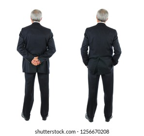 Two images of the same middle aged businessman seen from behind, different poses. Full length shot over a white background.