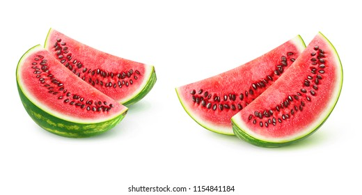 Two images of watermelon pieces isolated on white background with clipping path