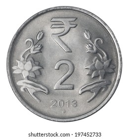 two Indian Rupee coin isolated on white background