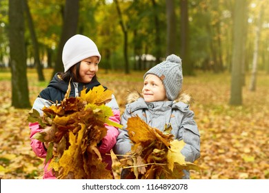 Two intercultural schoolkids with heaps of yellow leaves looking at each other in autumn park