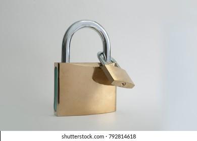 two interlocked padlocks