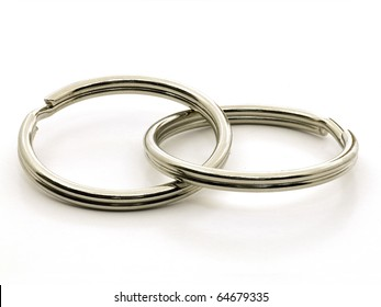 Two interlocking key chain rings isolated on the white background