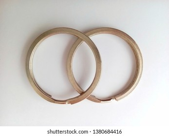 two iron rings isolated white background