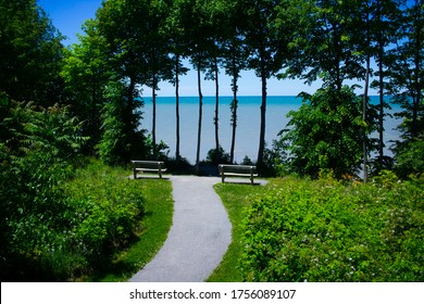 Two isolated benches at the Lake Erie Bluffs