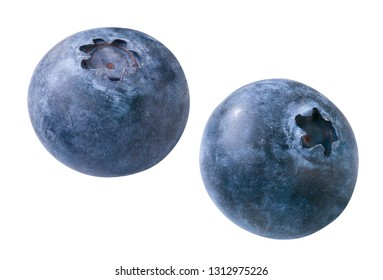 two isolated blueberries